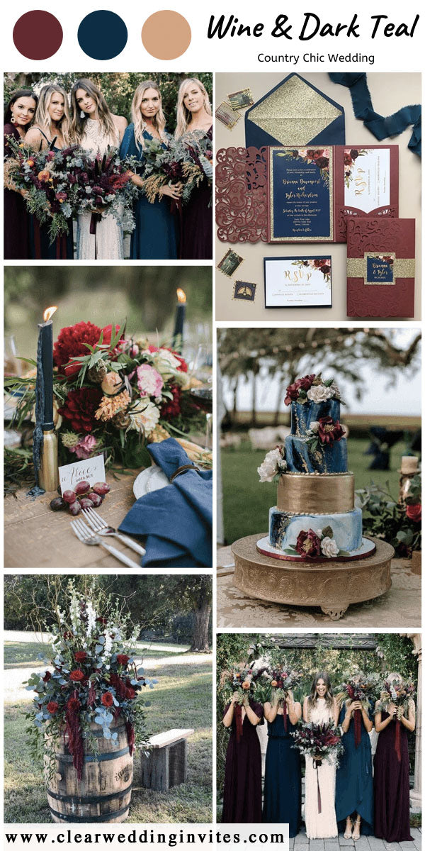 teal and burgundy wedding from rich jewel tones to earthy neutrals and even pastels