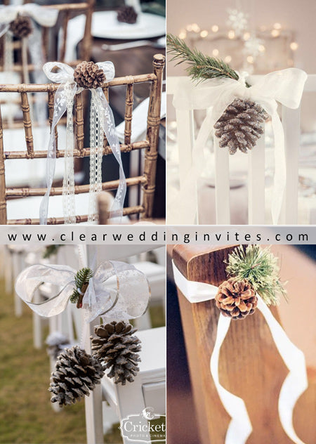 winter wedding chair decoration with pinecone