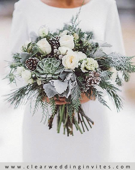 winter wedding flora to consider include succulents and holly greens