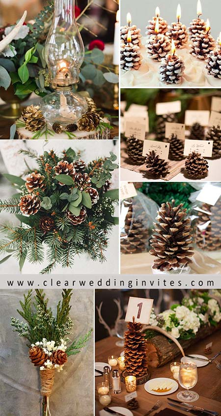 you can use pinecones in a number of aspects of your wedding decorations