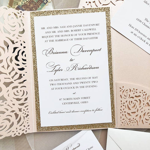 blush shimmer laser cut wrap with the classic invitation and rose gold glittery backer