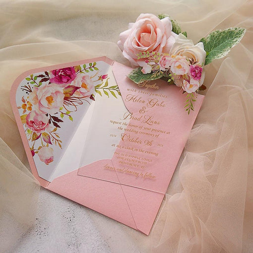 gorgeous blush pink gold floral floral pattern clear acrylic invitations CWIA32