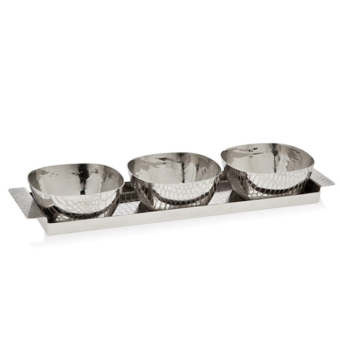 Croco Tray With 3 Square Bowls  - Wilson Street - Godinger