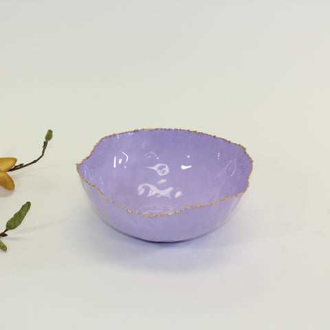 Coastal Small Round Bowl in Lilac with Gold Rim  - Wilson Street - Pampa Bay
