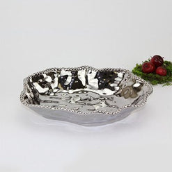 Titanium Coated Porcelain Rectangular Beaded Bowl  - Wilson Street - Pampa Bay