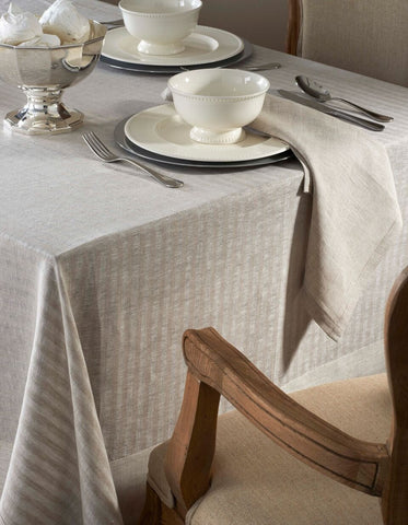 "Greenwich Tablecloth - Coated for Easy Care - 2 Colors Sand / 70"" x 70"" - Wilson Street - Mode Living - 2"