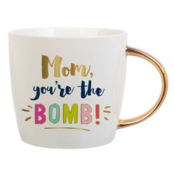 """Mom you're the BOMB"" Coffee Mug with Gold Handle"