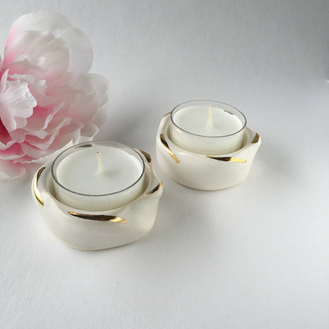 Handmade Ceramic Swirl Tea Lights - Pair of 2  - Wilson Street - Modern Mud