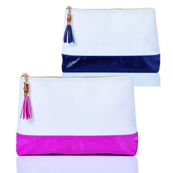 Lexi Colorblock Coated Canvas Makeup Bag  - Wilson Street - Toss Designs - 1