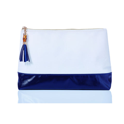 Lexi Colorblock Coated Canvas Makeup Bag White / Navy / None - Wilson Street - Toss Designs - 2