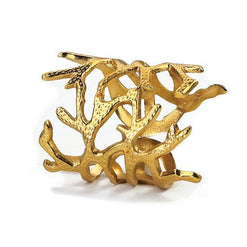 Gold Coral Napkin Rings - Set of 4  - Wilson Street - Bodrum