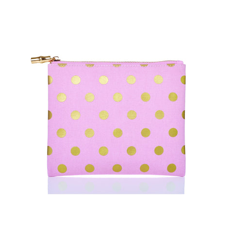 Flat Zip Printed Canvas Bags Pink & Gold Dots / None - Wilson Street - Toss Designs - 3