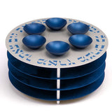Seder Plate with Matzah Shelves and Bowls by Agayof Blue - Wilson Street - Agayof - 2