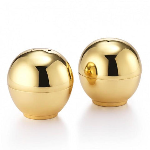 Helios Brass Ball Salt & Pepper Shakers