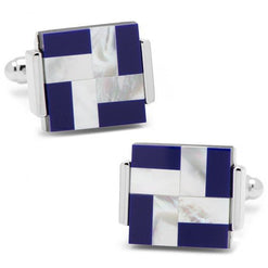 Mother of Pearl and Lapis Windmill Square Cufflinks  - Wilson Street - CuffLinksInc - 1
