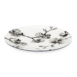 Set of 6 Black Orchid Melamine Dinner Plate