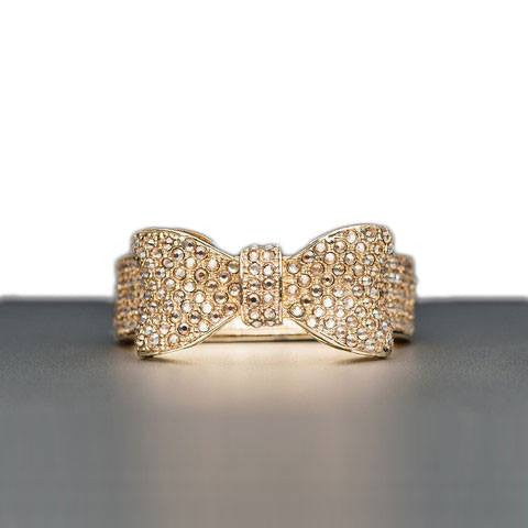 Bow Napkin Ring in Silver or Gold Plate with Swarovski Crystals  - Wilson Street - Nomi K - 1
