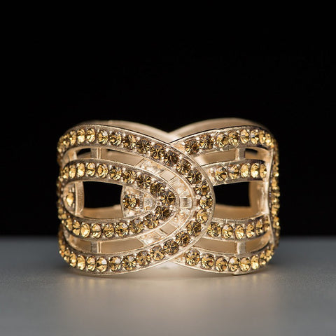 Eye Napkin Ring in Silver or Gold Plate with Swarovski Crystals Gold - Wilson Street - Nomi K - 2