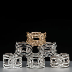 Eye Napkin Ring in Silver or Gold Plate with Swarovski Crystals  - Wilson Street - Nomi K - 1