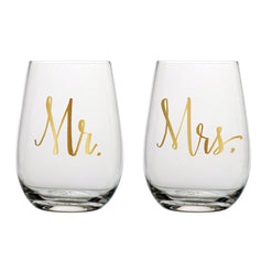 Mr. and Mrs. Stemless Wine Glasses  - Wilson Street - Slant Collection