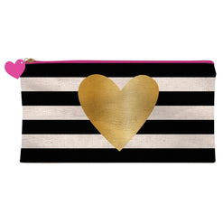 Pink Zipper Pencil Case Gold Heart on Black Stripes  - Wilson Street - Slant Collection