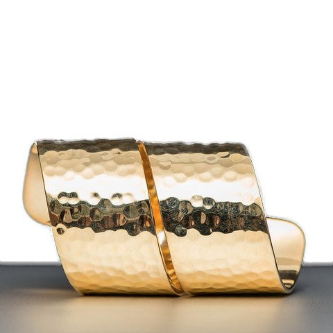 Spiral Napkin Rings in Gold or Silver with Hammered Finish Gold - Wilson Street - Nomi K - 1