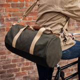 """Work Hard, Play Hard"" Duffel in Army Green  - Wilson Street - Owen & Fred - 4"