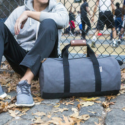 """Work Hard, Play Hard"" Duffel in Grey  - Wilson Street - Owen & Fred - 1"