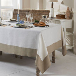 "Hamptons Tablecloth - Coated for Easy Care - 2 Colors Beige Border / 70"" x 128"" - Wilson Street - Mode Living - 1"