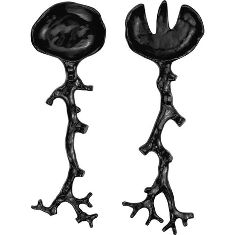 Opaque Black Coral Salad Servers  - Wilson Street - Madhouse