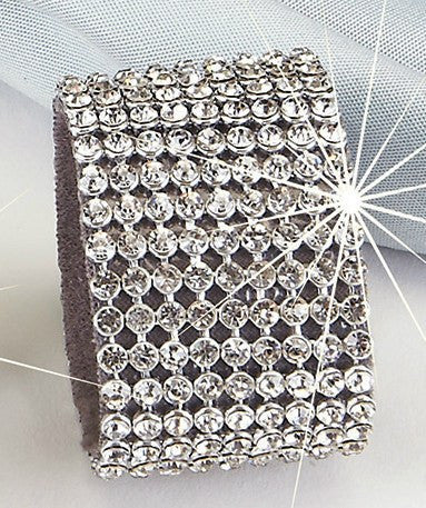 Rhinestone Wide Band Gold or Silver Napkin Rings Set of 4 Red
