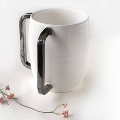 Handmade Ceramic Washing Cup with Square Pewter Handles  - Wilson Street - Modern Mud