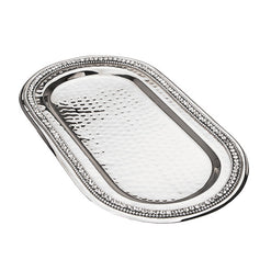 Stainless Steel Oval Tray with Stones  - Wilson Street - Classic Touch