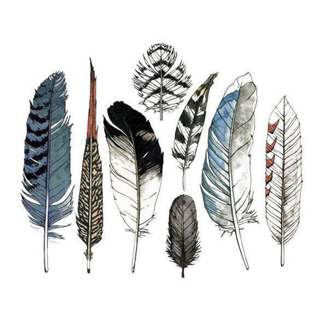 Watercolor Feather Set of Temporary Tattly Tattoos  - Wilson Street - Tattly - 1