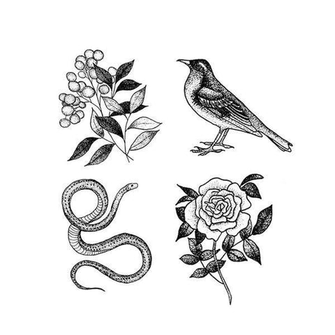Flora and Fauna Set of Temporary Tattly Tattoos  - Wilson Street - Tattly - 1