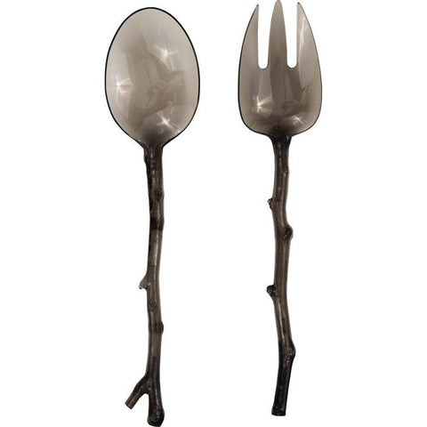 Translucent Gray Twig Salad Servers  - Wilson Street - Madhouse