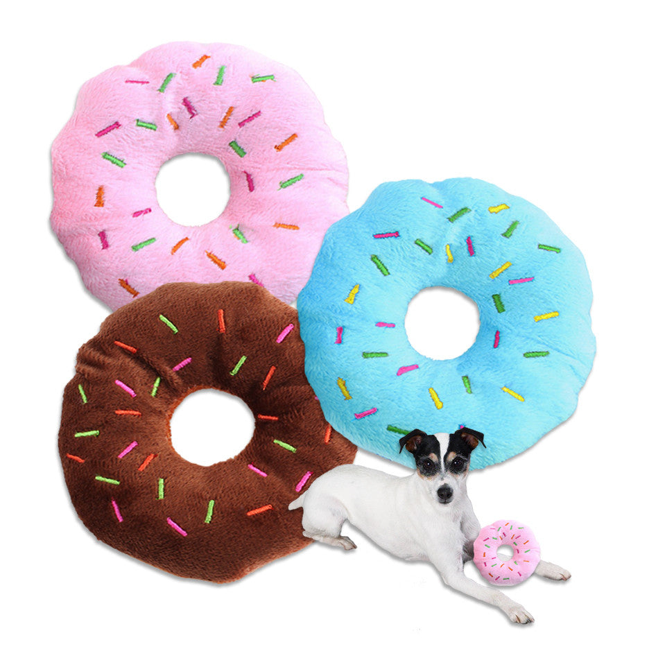 Doughnut or Donut Small Dog Toy, Glazed and With Sprinkles!