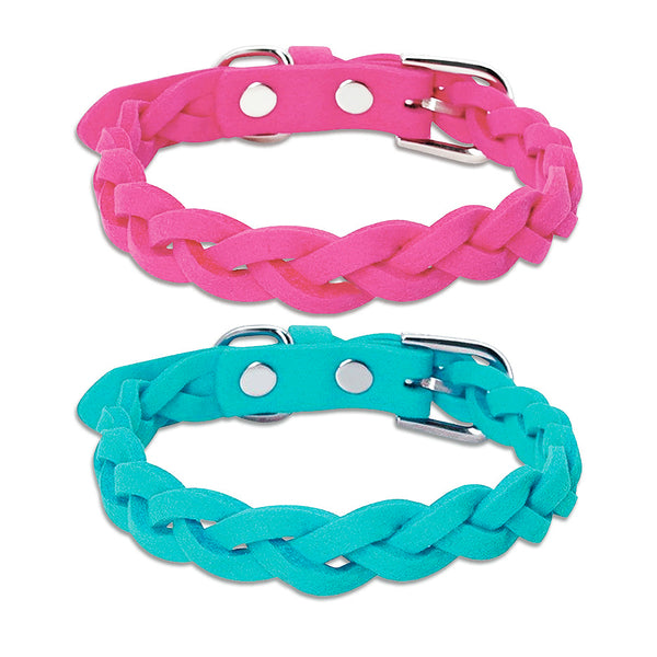 Braided Suede Small Dog Collar