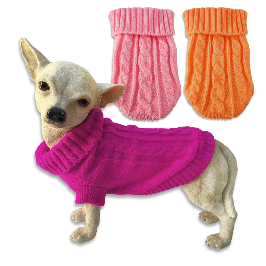 Cute Little Teacup & Toy Puppy Cable Knit Dog Sweaters