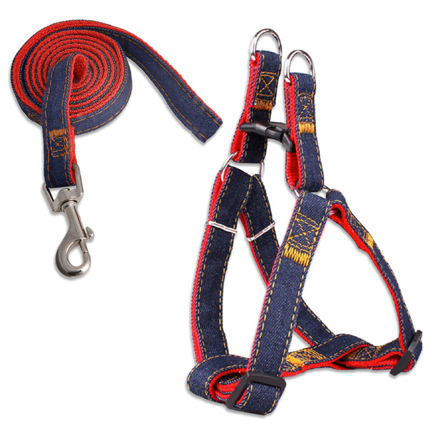 Denim Harness and Leash Set