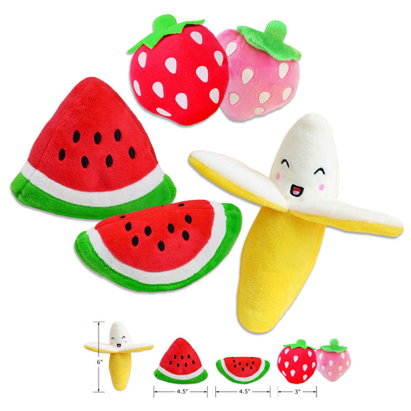 Fun With Mini Fruit Plush Small Dog Toys