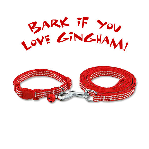 Adjustable Red Gingham Ribbon Dog Collar & Leash Set, , Collar, Small Dog Mall, Small Dog Mall - Good things for little dogs.  - 1