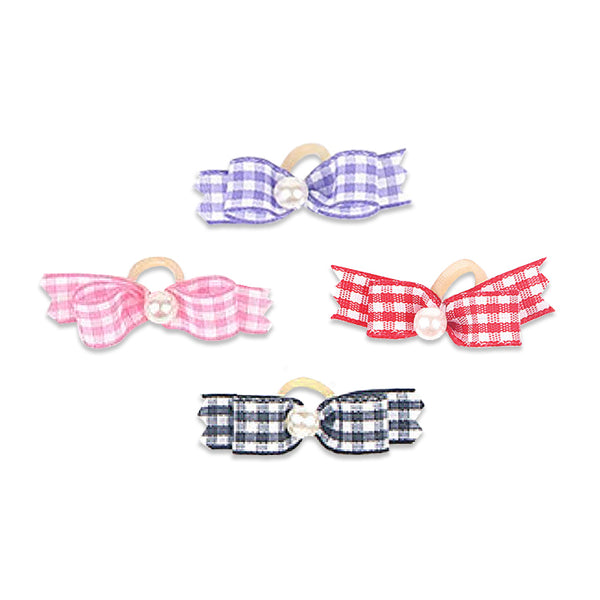Gingham and Pearl Hair Bows for Small Dogs