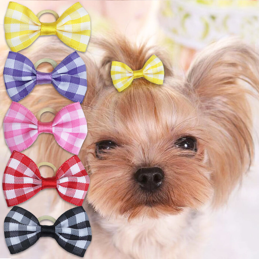 Fun Gingham Hair Bows for Small Dogs