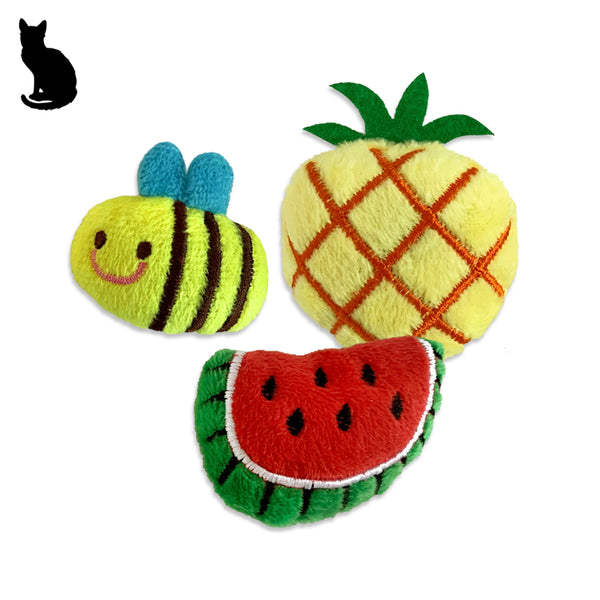 Adorable Summer Themed Bee, Pineapple or Watermelon Cat Toy