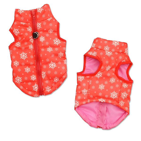 Insulated Puffy Nylon Small Dog Vest in Red Snowflake Design