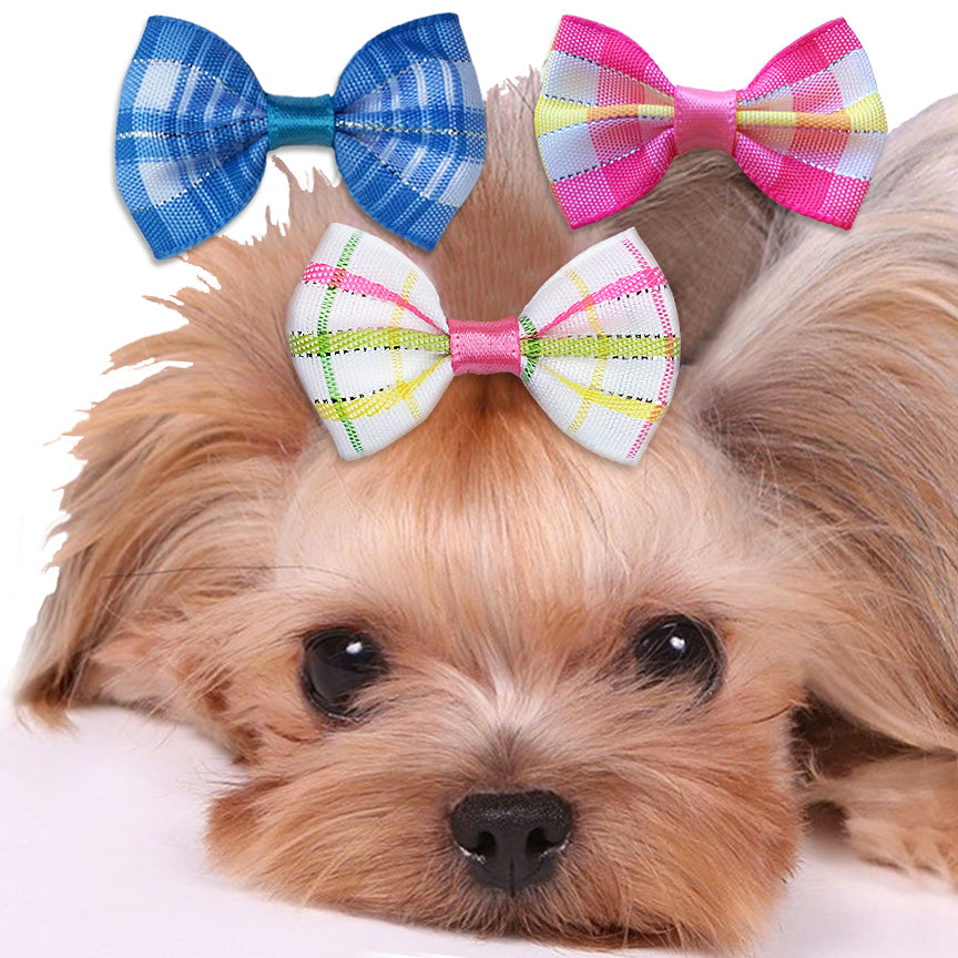 Sparkle Plaid Hair Bows for Small Dogs
