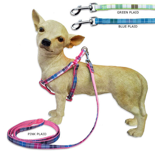 Spring Plaid Small Dog Harness with Matching Leash