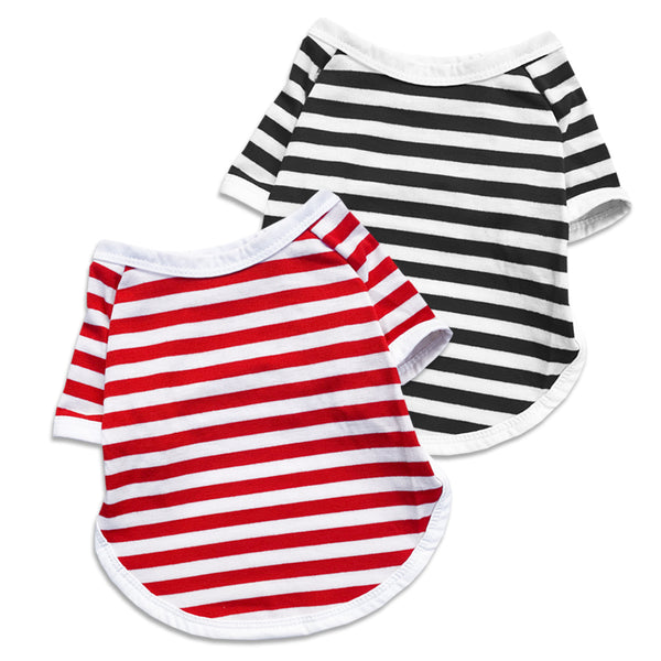 Red or Black Stripe Dog T-Shirt for Small Dogs