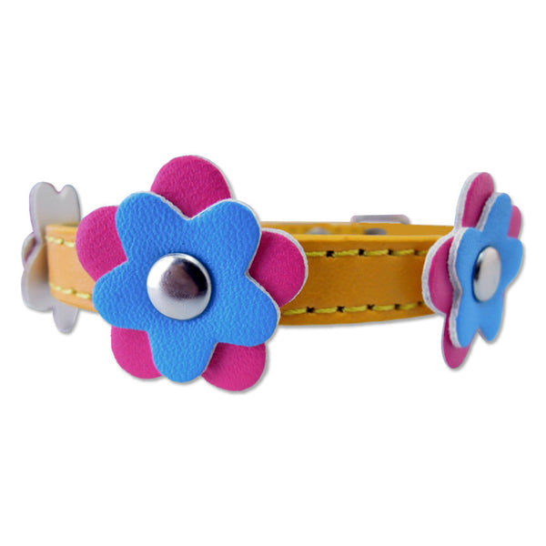 Pretty Flowers on Yellow Small Dog Collar